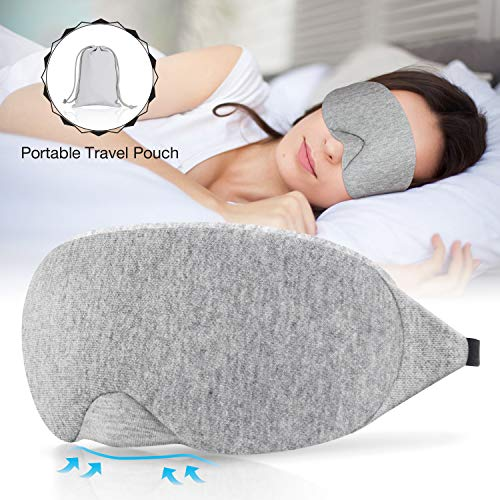 Sysrion Cotton Sleep Mask, Comfortable & Soft Eye Mask with Adjustable Strap, Unique Bending Cartilage Design Blocks Lights, Great for Travel,Flight,Train,Office Naps and a Full Night's Sleep, Grey (Sleep Flight)