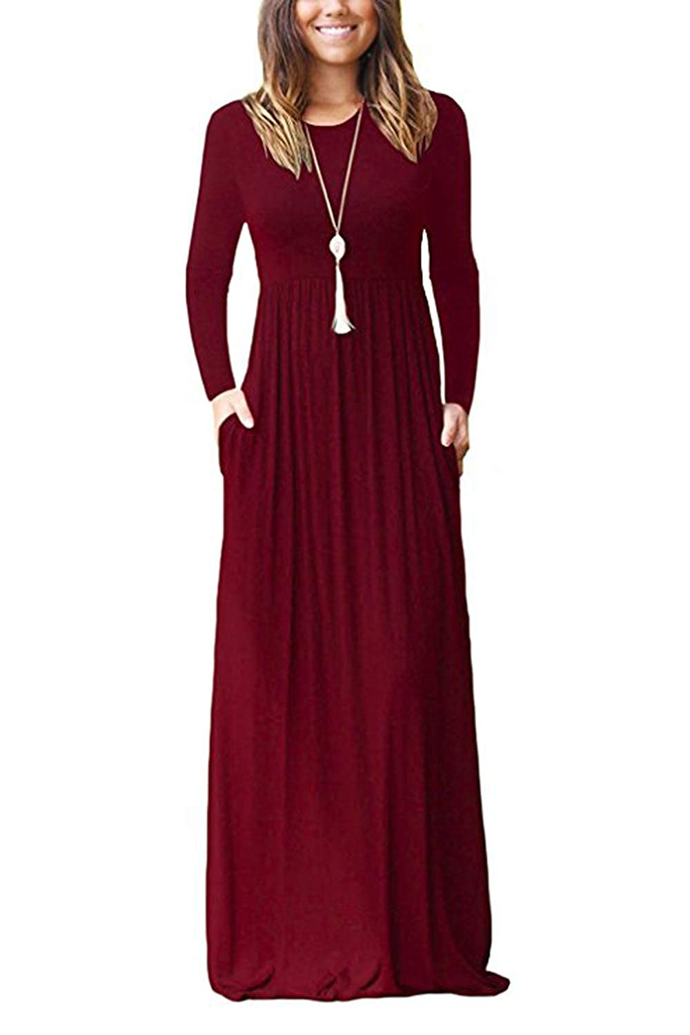 Green Ink Women' s Crewneck Long Sleeve Maxi Dress Casual Long Dress with Pockets