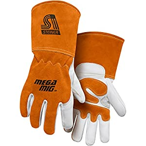 Steiner Mega MIG Gloves, Premium Heavyweight Grain Goatskin, Split Cowhide Back Palm Reinforcements, 4.5-Inch Cuff by Steiner - Geneva Supply