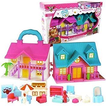 Doll House For Toddlers Portable With Furniture And Figures 14 Inches Long   7 High 2