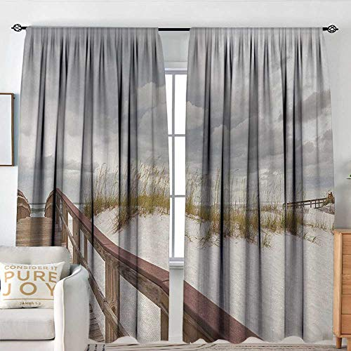 NUOMANAN White Curtains Beach,Footpath Through Sand Tropic Gulf Island National Seashore Florida Plants Landscape,Grey Cream,Decorative Curtains for Living Room and Bedroom 60