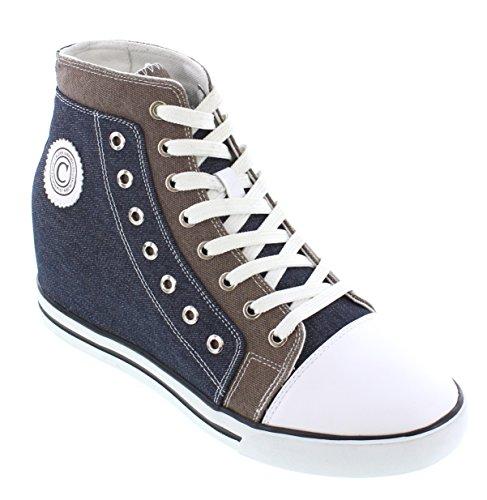 CALDEN Men Canvas 3.8 Inches Sneakers Blue & Grey