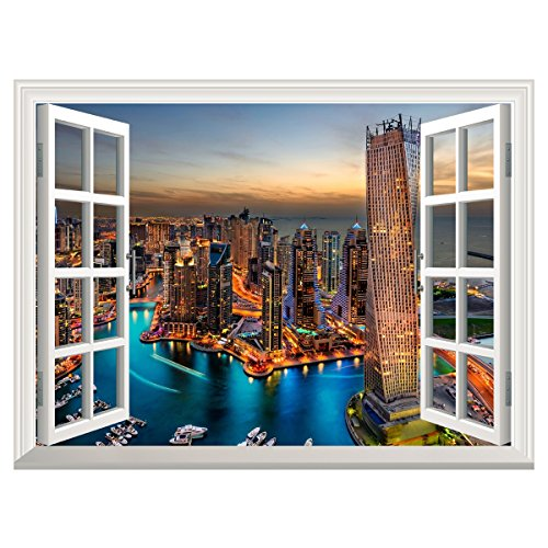 UNIQUEBELLA Skyscrapers In Dubai Fake Window View Creative 3D Wall Decor  Decals Vinyl Stickers For Home Office Decoration   Buy Online In Oman.