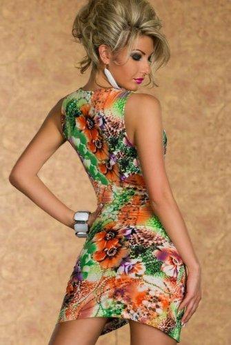 Blansdi Sexy Damen Rückenfrei V-Hals Bunte Blumen Kleid Minikleid Party Abendkleid Cocktailkleid Dress Skirt grün