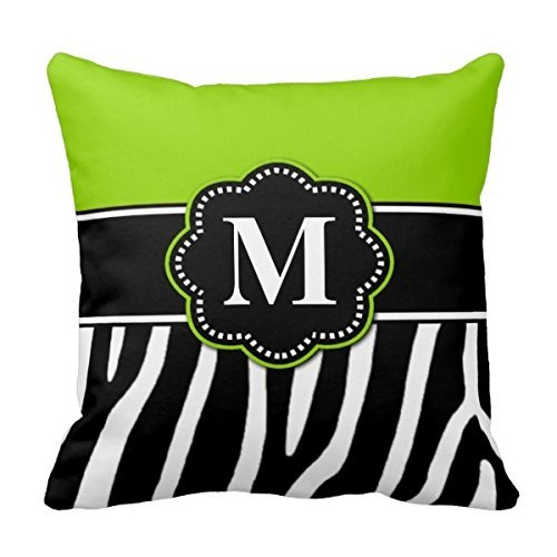 Decors Lime Green Zebra Print Monogram Pillow Case Cushion Cover Home Sofa Decorative 18 X 18 Squares (Twin Sides) (Zebra Green Lime)