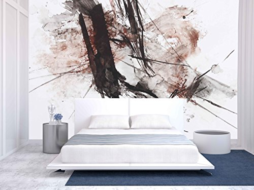 - wall26 - Black and Red Abstract Brush Painting - Removable Wall Mural | Self-adhesive Large Wallpaper - 66x96 inches