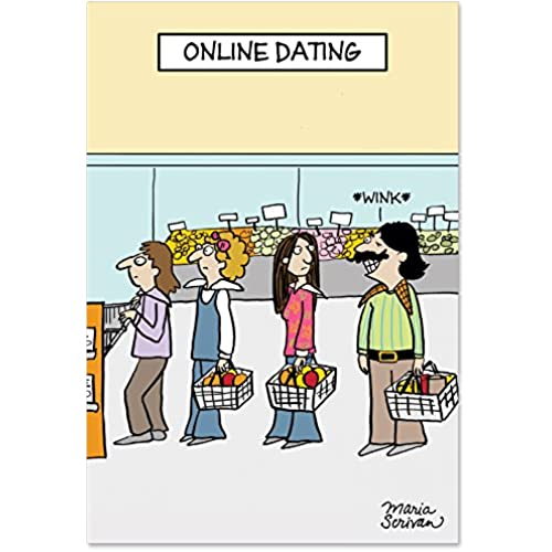 NobleWorks 2167 Online Dating Funny Valentine's Day Unique Greeting Card, 5 x 7 Sales