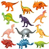 Realistic Plastic Dino Toy Set - For Kids Led By - Trex Stegosaurus Raptor Triceratops & Spinosaurus Dinosaur Toys For Children 3+ - STEM Learning Toys - 7 Inches 12 Pcs Dino Toys Best Christmas Gift