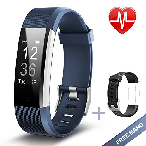 Lintelek Fitness Tracker, Heart Rate Monitor Activity Tracker with Connected GPS Tracker, Step Counter, Sleep Monitor, IP67 Waterproof Pedometer for Android and iOS Smartphone by Lintelek