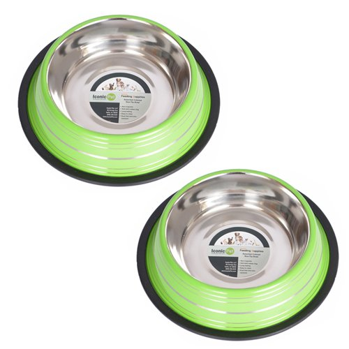 Iconic Pet 1 Cup Color Splash Striped Non-Skid Pet Bowl for Dog or Cat (2 Pack), Green, 8 - Dog Bowl Colored Green