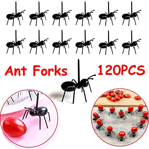 Bonaweite 120pcs Ant Fruit Toothpick Dessert Forks, Adorable Mini Plastic Animal Food Picks, Cute Toothpicks for Home Kitchen Decoration Party