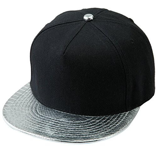 Samtree Unisex Snapback Hats,Adjustable Hip Hop Flat Brim Baseball Cap (02-Silver & Black) by Samtree