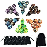 SmartDealsPro NEW ARRIVAL ONE 6 x 7 Sets(42pcs) Two Colors Dungeons and Dragons DND RPG MTG Table Games Dice w/ FREE Pouches