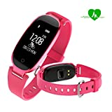 Fitness tracker watch,Women Waterproof Activity Tracker with Heart Rate Monitor Bluetooth Smart Watch Wireless Smart Bracelet Sleep Monitor Pedometer Wristband for Android and iOS Smartphone (Pink)