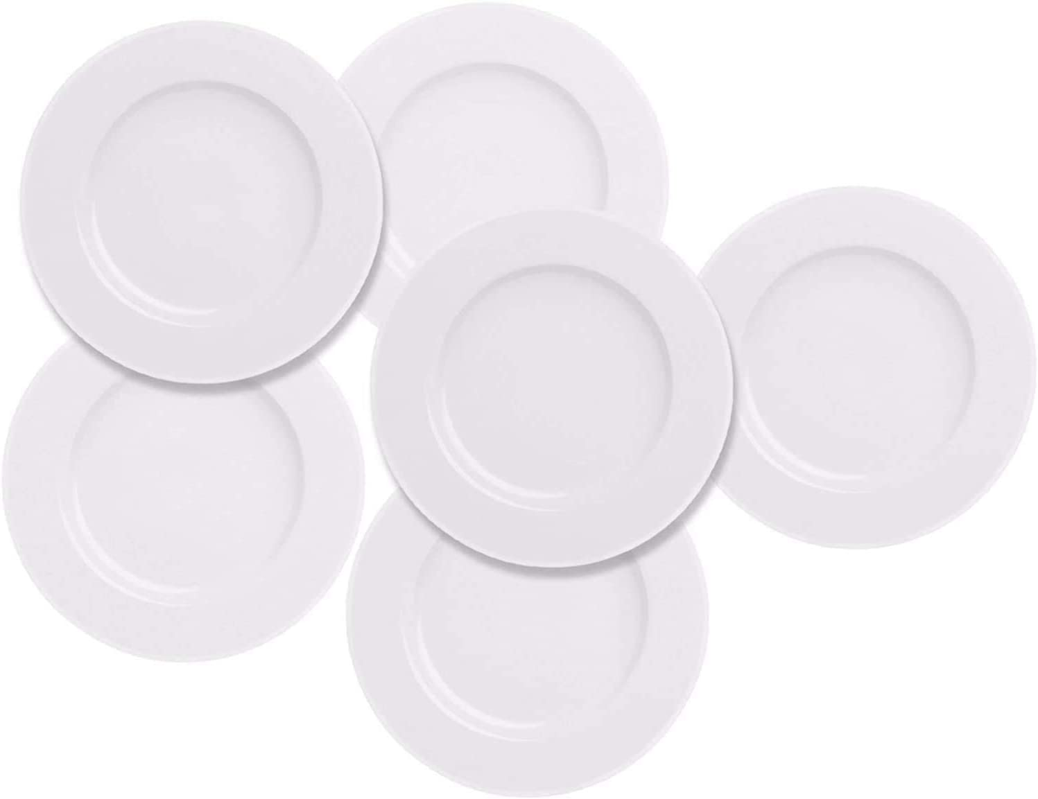 Salad Dessert Plate 7.5inch White Porcelain Dinner Set of 6 with Round Flat Design