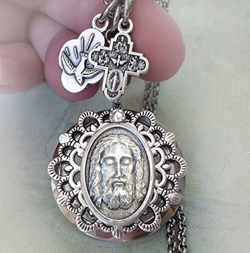 Lord Italian Charm - Holy Face of Jesus Locket Necklace, Shroud of Turin, Lord Jesus Christ, Christian Religious Inspiration Jewelry, Italian Charm Necklace