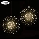 FOOING 4 Pack LED Firework Copper Lights,8 Modes Dimmable String Fairy Lights with Remote Control, Hanging Starburst Lights for Parties,Home,Christmas Outdoor Decoration (4 Pack, Warmwhite Dandelion)