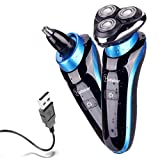 Hatteker 2 in 1 Electric Shaver Professional Electric Razor Rotary Shaver for Men Waterproof Nose Hair Trimmer Cordless with USB Rechargeable Wet and Dry Perfect Gifts for Husband Dad Boyfriend