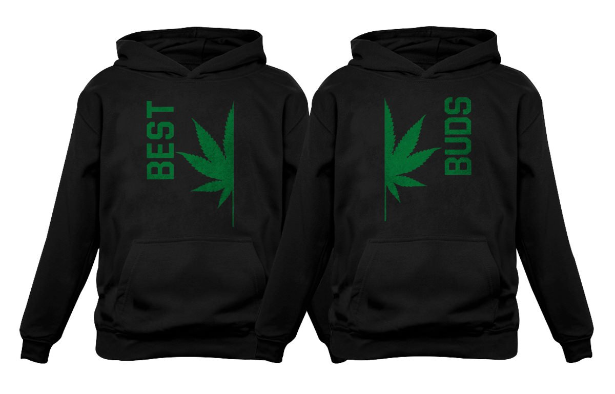 Best Buds Gift for Weed Lovers – Funny Cannabis Leaf Matching Hoodies Set