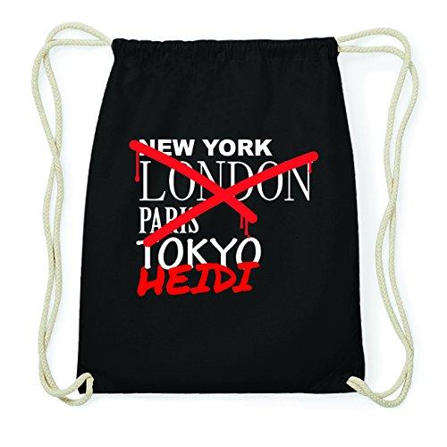 JOllify HEIDI Hipster Turnbeutel Tasche Rucksack aus Baumwolle - Farbe: schwarz Design: Grafitti