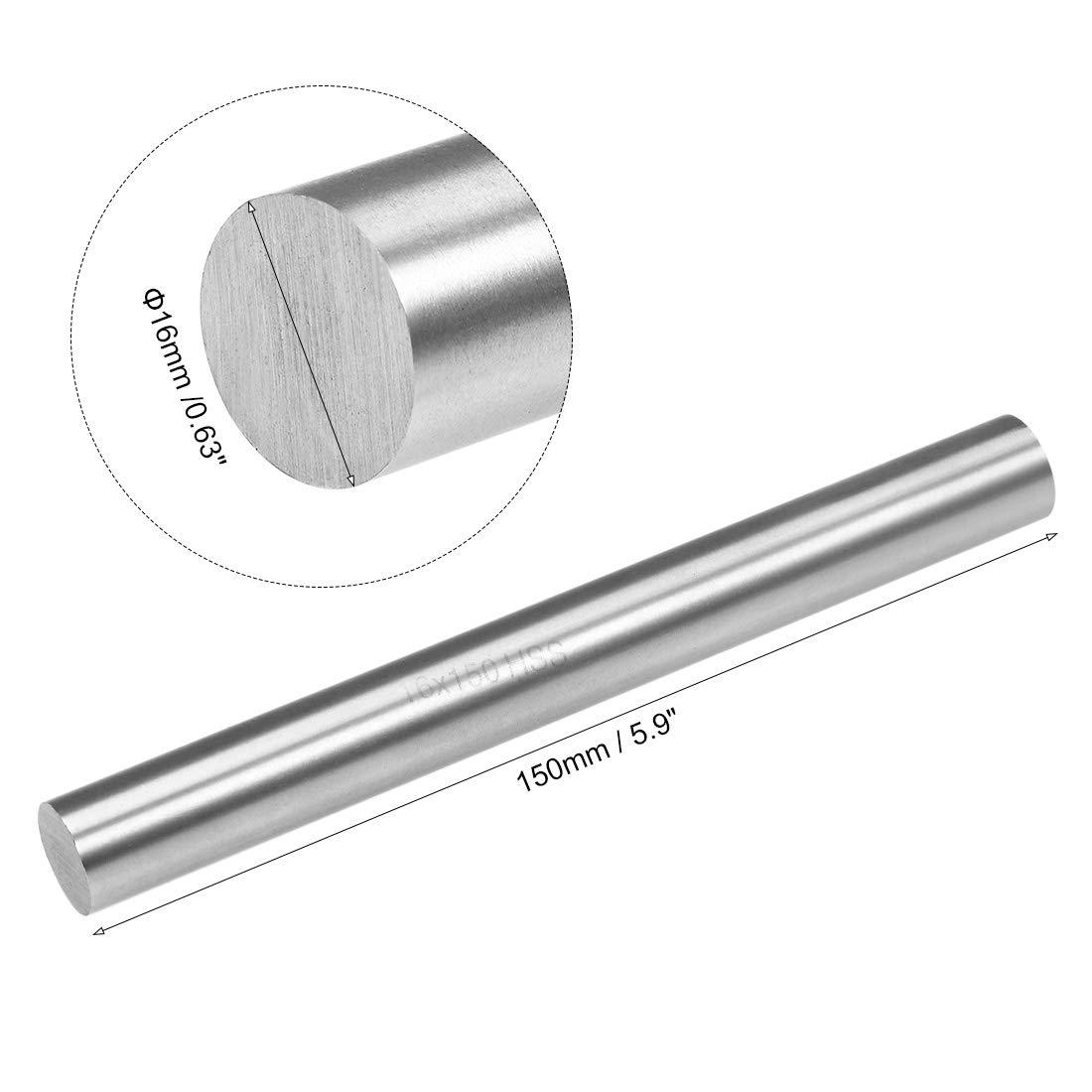 sourcing map HSS Tour Rond Tige Solide Arbre Barre 16mm Dia 150mm Long