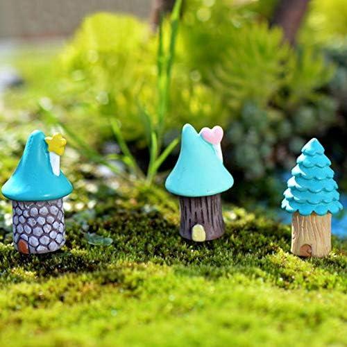Shoppy Star - Juego de 3 Adornos para jardín de Hadas, diseño de casa en Miniatura, Color Azul: Amazon.es: Jardín