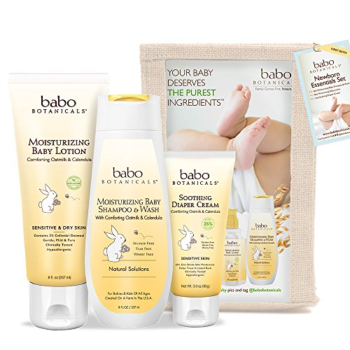 Babo Botanicals Newborn Essentials Set with Organic Calendula and Colloidal Oatmeal, Hypoallergenic, Perfect Baby Shower…