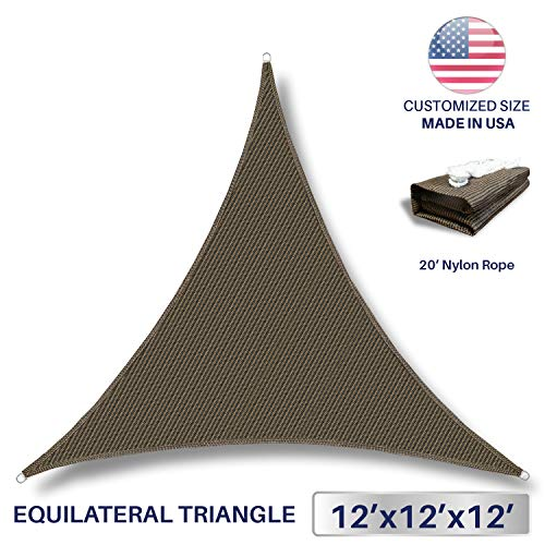 Windscreen4less 12 x 12 x 12 Sun Shade Sail UV Block Fabric Canopy in Brown Coffee Triangle for Patio Garden Patio Customized Sizes Available 3 Year Warranty