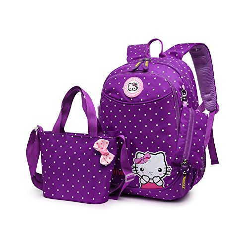 MIUCOO Polka Dot 3pcs Kids Book Bag School Backpack Handbag Purse Girls Teen (H-Purple)