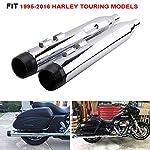 4-Harley-Exhaust-Megaphone-Slip-On-Mufflers-With-CNC-Black-End-Cap-For-1995-2016-Harley-Davidson-FLH-Bagger-Touring-modelsElectra-GlideStreet-GlideRoad-GlideUltra-GlideDresser-Road-King