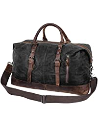 Travel Duffel Bag, Veckle Wax Canvas Weekend Overnight Bag Genuine Leather Trim