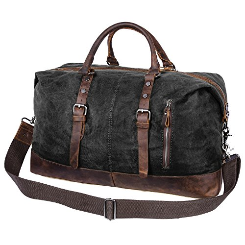 Leather Vintage Carry On (Canvas Duffel Bag, Veckle Travel Duffel Hand Bag Waxed Canvas Genuine Leather Trim Luggage Carry on Bag for Weekender Crossbody Bag, Black)