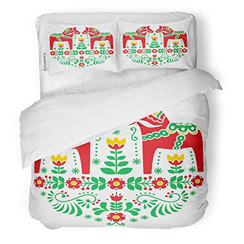 Emvency Decor Duvet Cover Set Full/Queen Size Green Sweden Swedish Dala Daleclarian Horse Floral Folk Pattern Red Scandinavian Old 3 Piece Brushed Microfiber Fabric Print Bedding Set Cover]()