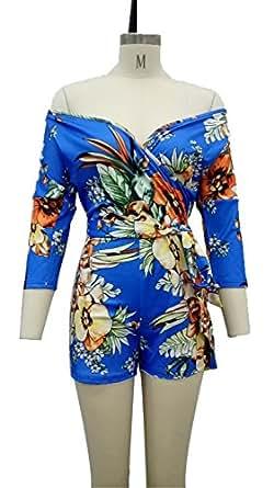 FJ-Direct Boho Floral Print Women Plunge Deep V Neck Sexy Plus Size Summer Beach Romper Blue S