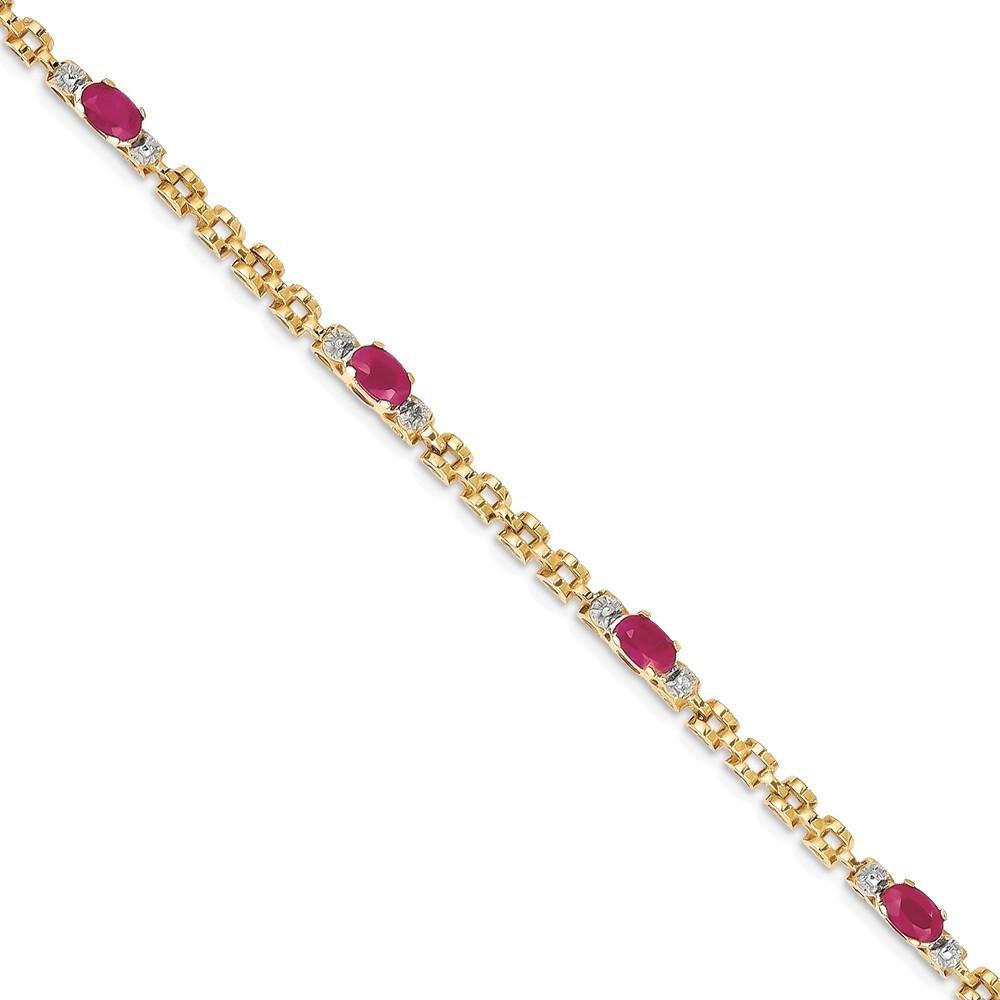 ICE CARATS 14k Yellow Gold Diamond Red Ruby Bracelet 7 Inch Fancy Gemstone Fine Jewelry Gift Set For Women Heart