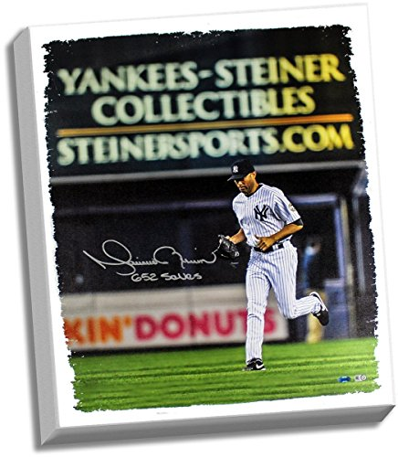 Mariano Rivera Entering Game - Mariano Rivera Signed Entering the Game Yankee-Steiner Collectibles Ad in the back ground 20x24 Canvas w/ 652 Saves Insc. (MLB Auth)