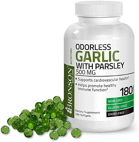 Bronson Odorless Garlic with Parsley Capsules 500 mg - Supports Cardiovascular Health - Promotes Immune Function, Non-GMO, Gluten Free, Dairy Free, 180 Softels