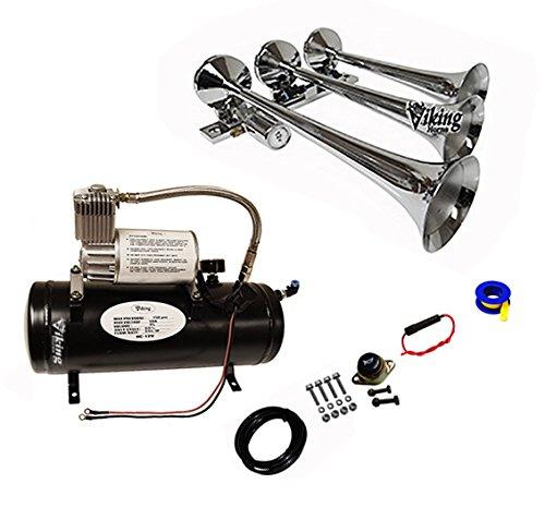 (Viking Horns 3305/1007 Loud 149 Decibles Chrome 3 Trumpet Train Air Horn Kit with 1.5 Gallon Air Tank/air Compressor ... )