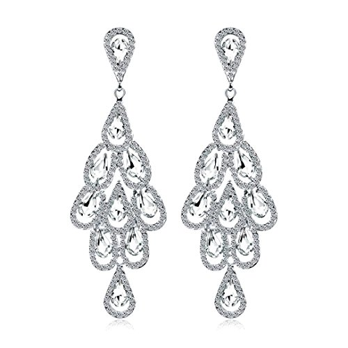 Sacow Pendant Earrings, Fashion Zircon Earrings Diamond-encrusted Love Heart Earring for Girls (O)