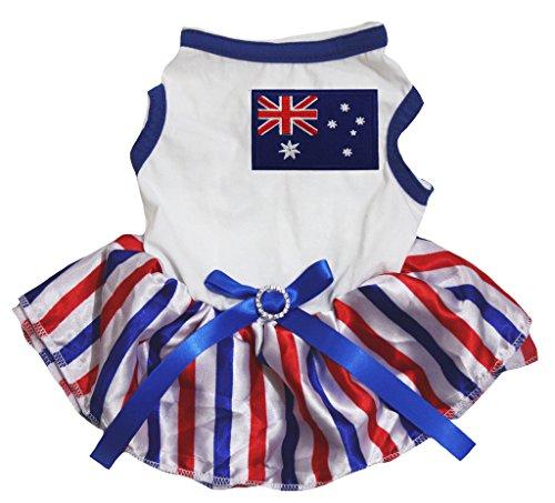 Tutus Australia (Petitebella Puppy Clothes Dog Dress Australia Flag White Top RWB Stripes Tutu (Large))