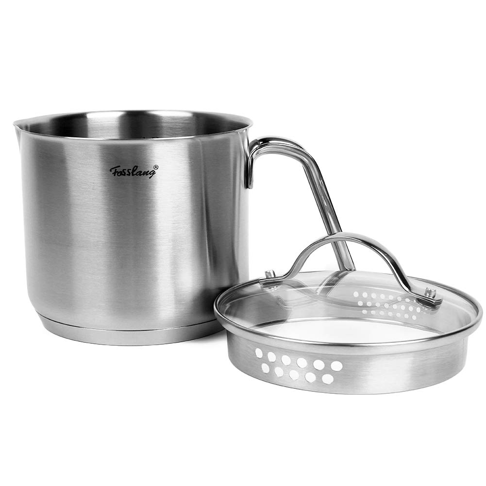 1.5 Quart Stainless Steel Saucepan With Pour Spout, Fosslang Saucepan with Glass Lid, 6 Cups Burner Pot With Spout - for Boiling Milk, Sauce, Gravies, Pasta, Noodles by Fosslang