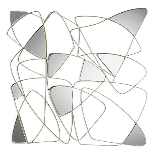Large Abstract Square Curved Metal Wall Art | Mirrored Twisted Lines