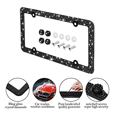 Otostar Bling Crystal Car License Plate Frame, Handmade Finest 14 Facets SS20 Diamond Stainless Steel License Plate Holder Cover - 2 Pack (Black 4 Rows 4 Holes): Automotive