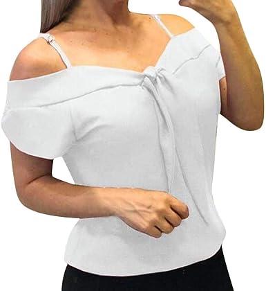 Camisetas Mujer Manga Corta SHOBDW Moda Playa De Verano Blusa Sólida Pura Elegante Camisola De Gasa Talla Grande Camisas De Mujer De Oficina Tops De Hombro Fríos para Las Mujeres S-XXL: Amazon.es: