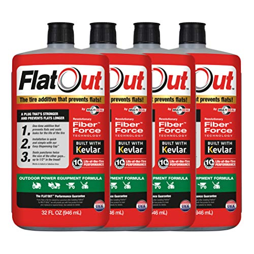 MULTI SEAL 20124 4-Pack FlatOut Tire Additive (Outdoor Power Equipment Formula), for Lawn Mowers, Small Tractors, Wheelbarrows, Woodchippers, Snow Blowers and more and more, 4 Pack
