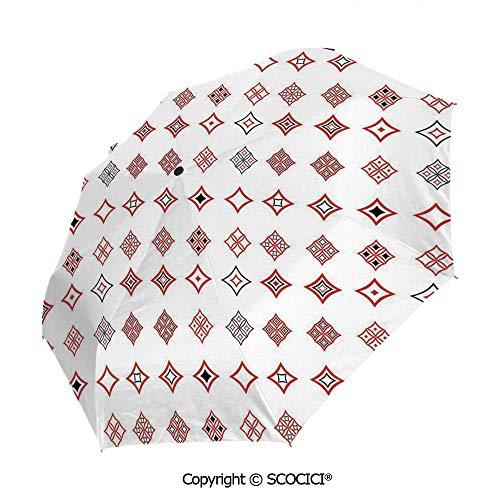 SCOCICI Folding Umbrella, Diamond Shaped Geometric Figure with Inner Artful Forms Symbolic Architecture Icon Automatic Folding Umbrella Sun Protection Parasol Rain/Sun Umbrella for Ladies