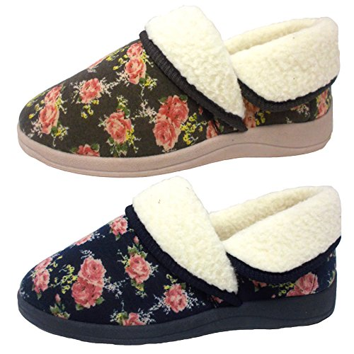 Pantoufles Dunlop Doublure Moka Fourrure Femmes Imprimé Faye Floral Fausse 0ZqwS6xd