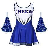 Damen Redstar – Cheerleader-Kostüm mit Pompons,Fantasiekleid, Kostüm für Sport, Highschool, Musical, Halloween –6Farben, Größen 34–42 mehrfarbig schwarz Ladies 14-16 UK