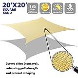 Shade&Beyond Square Sun Shade Sail 20' x 20' Sand