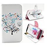 G3 Case, Jenny Shop Fashion Style PU Leather Stand Feather with 2 Built-in Card Slots, Money Pocket Flip Cover Magnetic Closure Cover Case ONLY for LG G3 5.5 Inch Screen Smartphone (Tree and Butterfly)